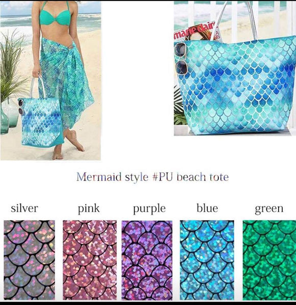 Mermaid Faux Leather Tote Bag