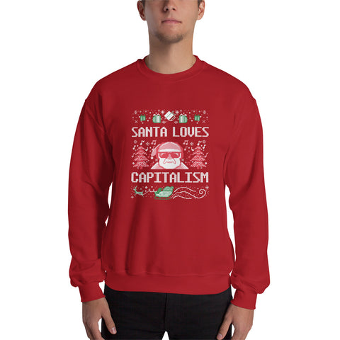 """Santa Loves Capitalism"" Ugly Sweater Style"