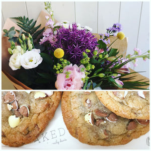 22nd January Lockdown flowers with 2 Cookies from 'Baked by emily davis'