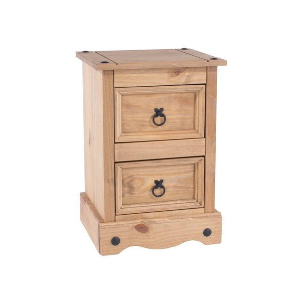Corona Pine 2 Drawer Bedside Table