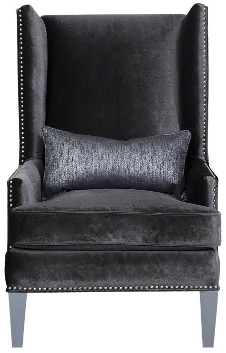 Chic Charcoal Glamour Lorraine High Back Chair