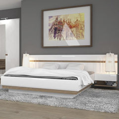 Chelsea Bedroom Kingsize Bed in white with an Oak trim with Lift Up Function