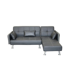 MODERN FAUX LEATHER LOUNGER SOFA WITH CHAISE - BROWN & BLACK