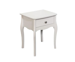 Baroque 1 Drawer Bedside Table (Available in White, Dark Coffee & Grey)