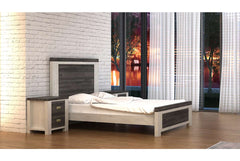 Sleep Design Chelford White & Ash Grey Wooden Bed Frame