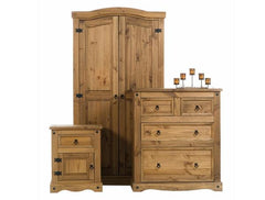 Corona Mexican Pine Bedroom Set - Wardrobe, Bedside & Chest