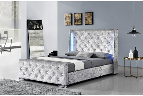 Sleep Design Dorchester LED Winged Headboard Fabric Bed