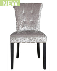 Dining Chair In Charcoal Crushed Velvet