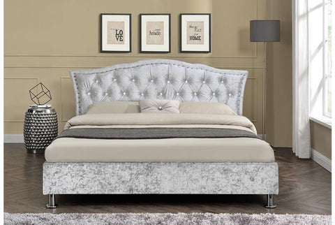 Sleep Design Georgio Crushed Velvet Bed Frame Silver