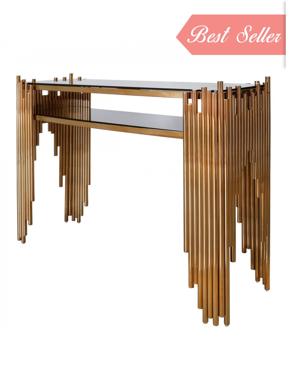 Lorentz Metal & Glass Console Table Rose Gold