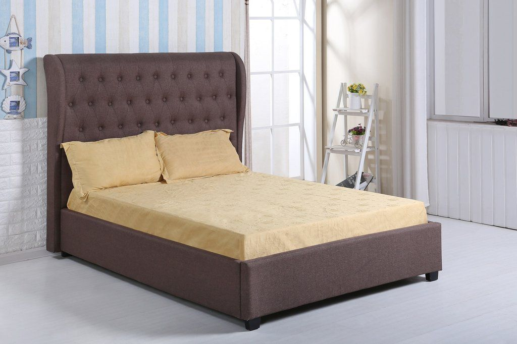 KENSINGTON DESIGNER FABRIC BED WITH LARGE BUTTONED HEADBOARD - DOUBLE & KING SIZ