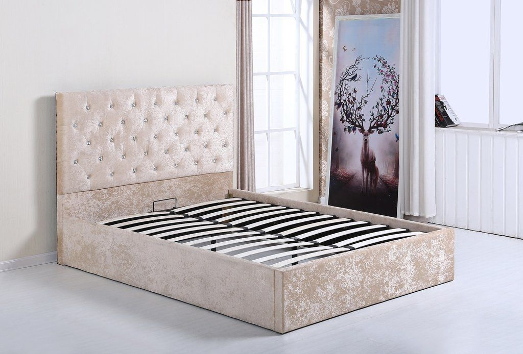 CRUSHED VELVET OTTOMAN LIFT UP STORAGE BED - DOUBLE BED - GOLD