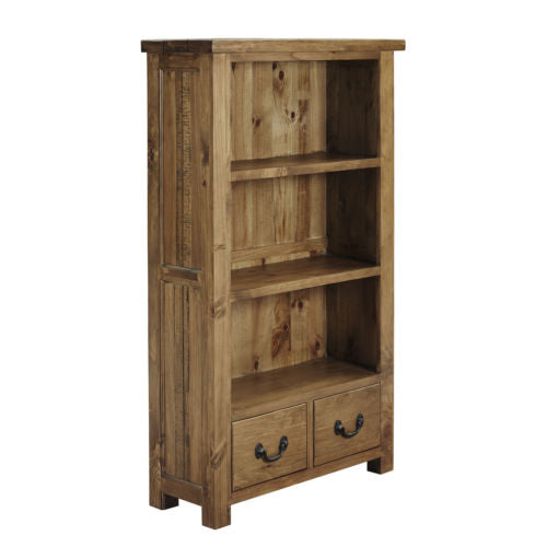 Low Modern Rustic Solid Oak Quality Bookcase with Shelves