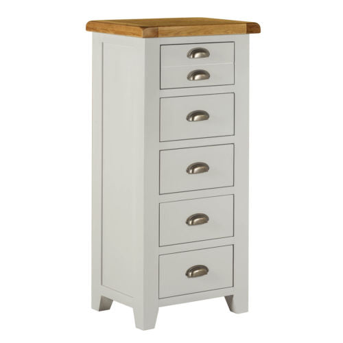 Tall Chest 5 Drawers Sideboard Cabinet in Grey