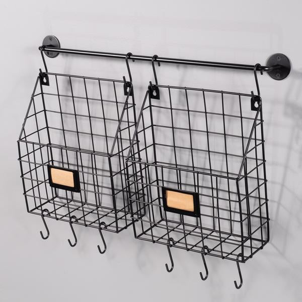 Title Rivista Set Of 2 Wire Basket Rail And Hooks Wall35