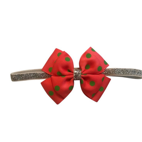 Flossy Bow Coral with Green Polka Dots