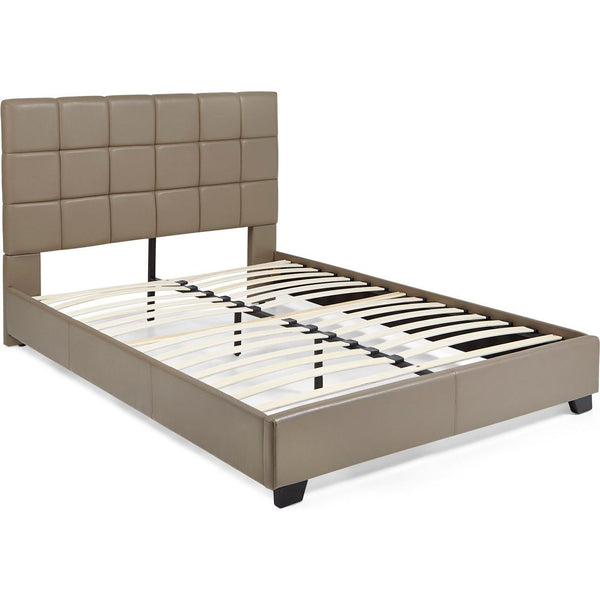 Kenora Platform Bed in Taupe Faux Leather