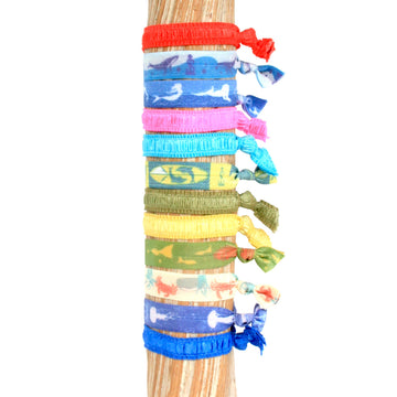 12 Pack Surf & Turf Print Hair Bracelets