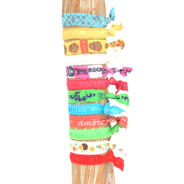 12 Pack Trendy Print Hair Bracelets
