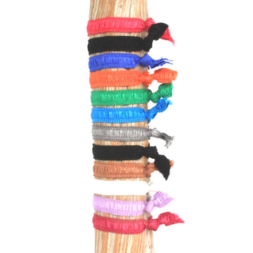12 Pack Multi Solids Hair Bracelets