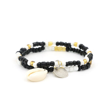 Gold Onyx Cowrie Shell Bracelet Set