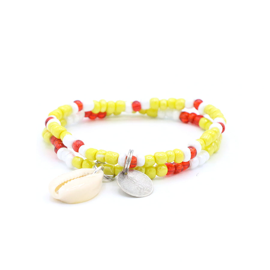 Sunset Yellow Cowrie Shell Bracelet Set