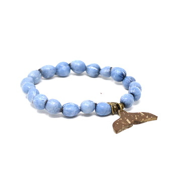 Denim Whale Tail Beaded Bracelet