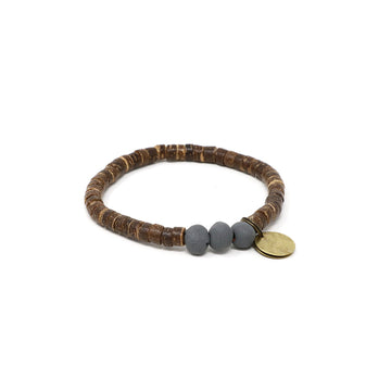 Charcoal Coconut Pipeline Bracelet