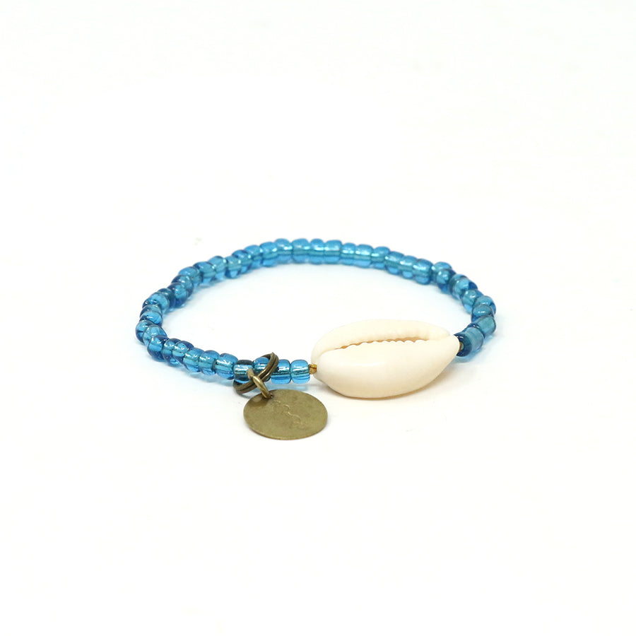 Teal Cowrie Shell Bracelet