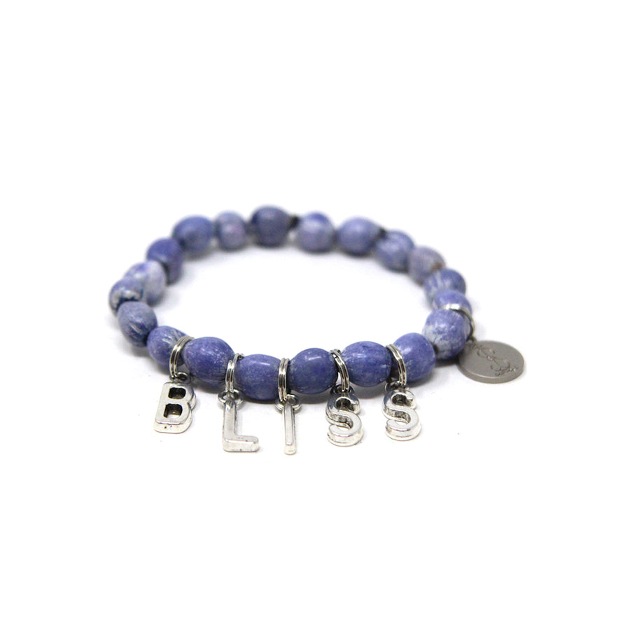 Denim Blue Bliss Lucky Charmz Beaded Bracelet. Handmade from Job's Tears seeds & brings good luck