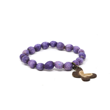 Purple Butterfly Beaded Bracelet