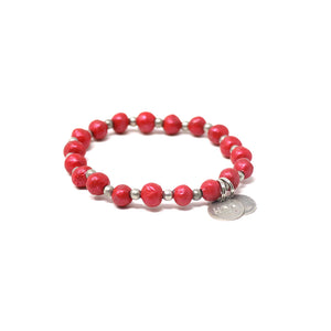Metallic Red Charm Bracelet