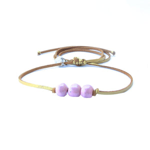 Mauve Beaded Choker Necklace