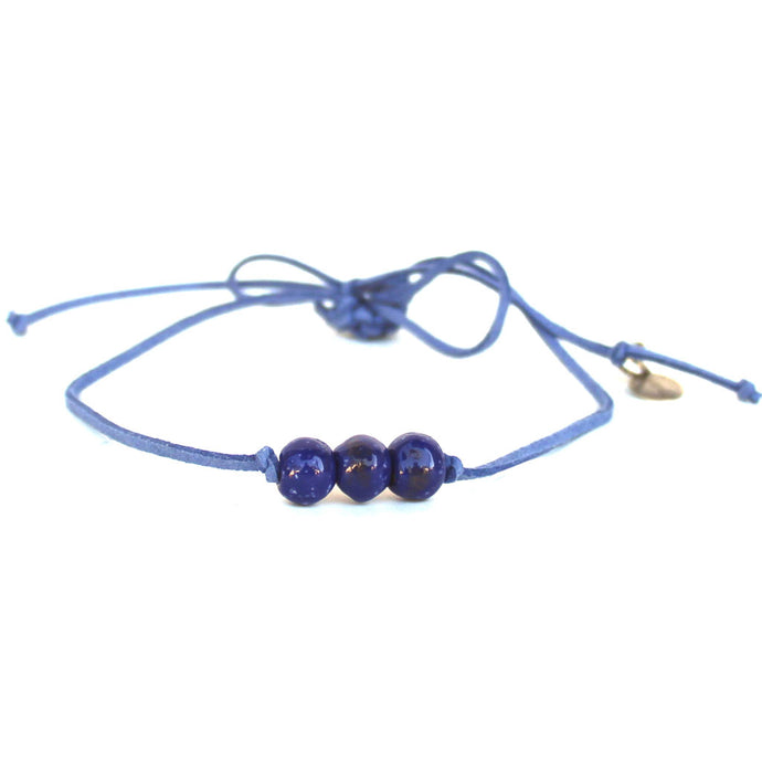 True Blue Beaded Choker Necklace