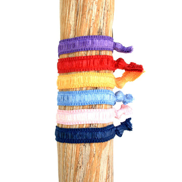 6 Pack Solid Exotic Hair Bracelets