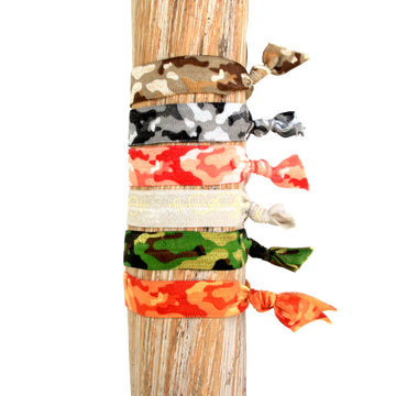 6 Pack Neutral Camo Print Hair Bracelets