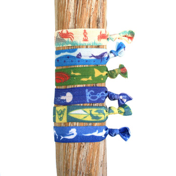 6 Pack Surf & Turf Print Hair Bracelets