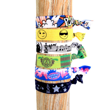 6 Pack Pop Culture Print Hair Bracelets