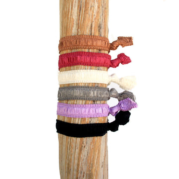 6 Pack Solid Earth Tone Hair Bracelets
