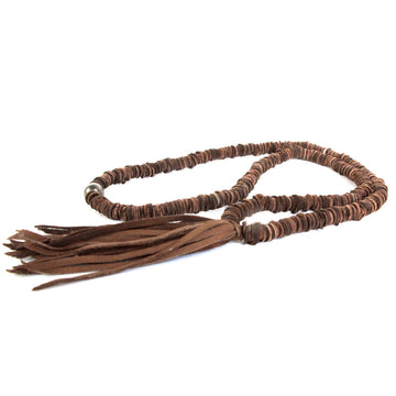 Chocolate Leather Tassel Necklace
