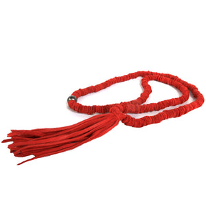 Red Leather Tassel Necklace