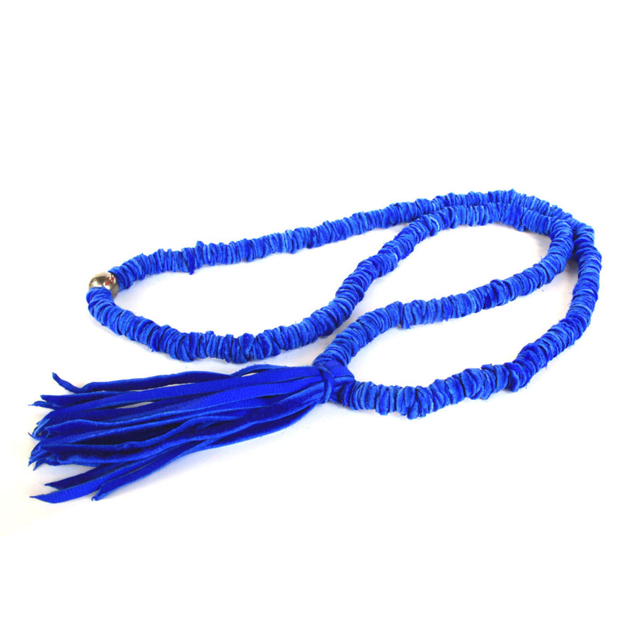 Indigo Leather Tassel Necklace