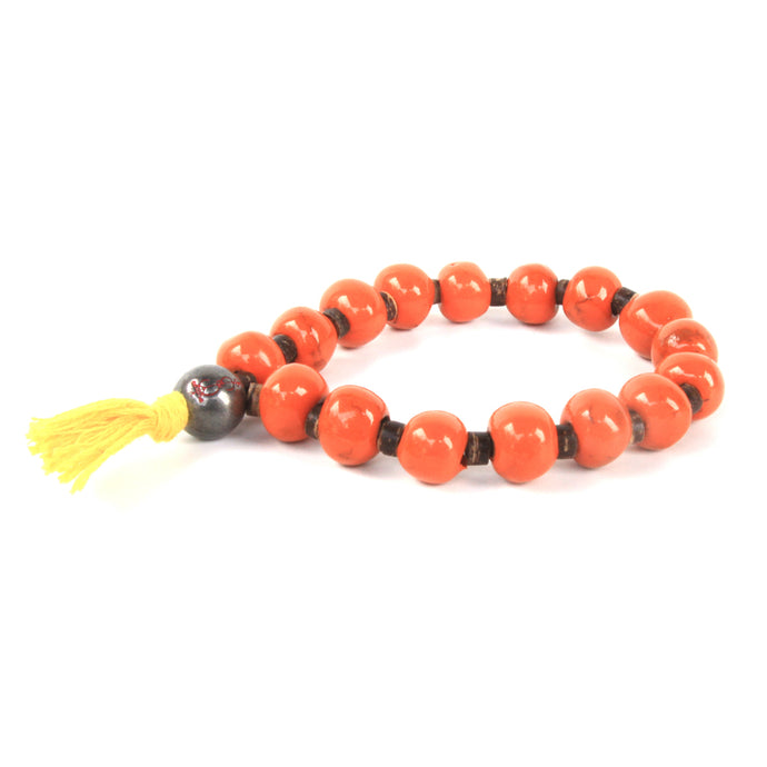 Orange Yellow Tassel Clay Bracelet