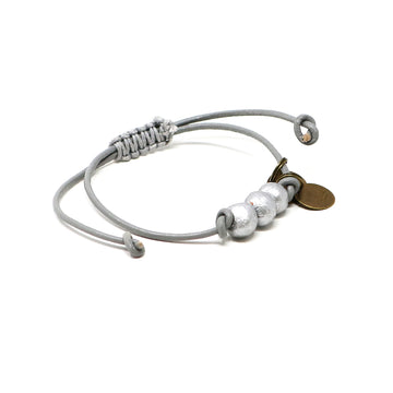 Silver Vegan Leather Pipeline Bracelet