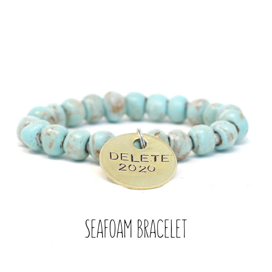 Clay Bracelet - Seafoam, with Tassel and 10 mm Squared Beads