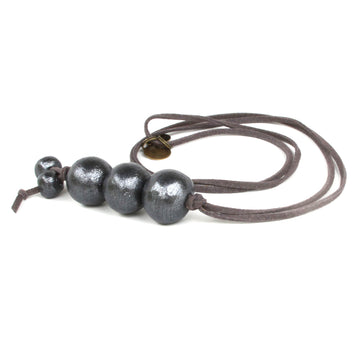 Charcoal Boho Beaded Necklace