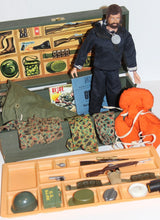 Vintage 1964 Hasbro GI Joe Wooden Footlocker w/ Many Accessories Clothes & Fuzzy Head Talking GI Joe Figure