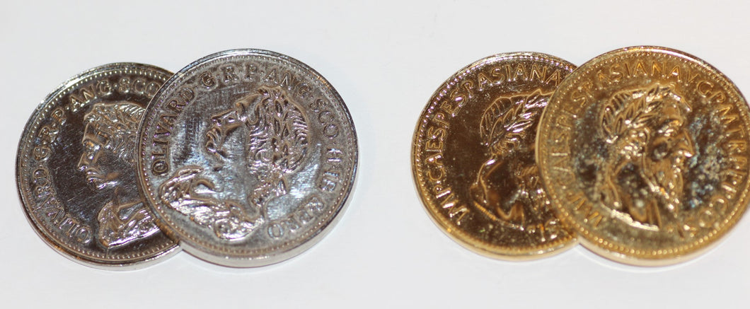 Silver & Gold Coins, Each With An Expanded Shell