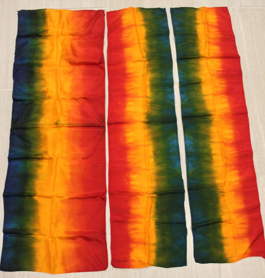 3 Tied-Dyed unusual size silks