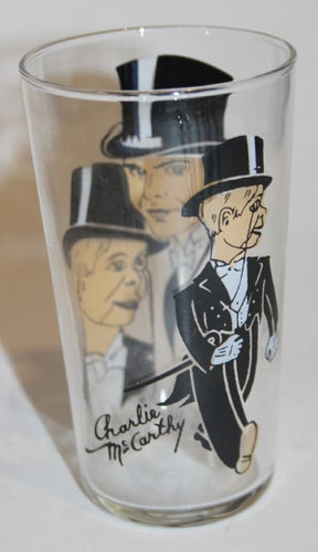 RARE 1930's Charlie McCarthy/Edgar Bergen Cartoon Character Glass